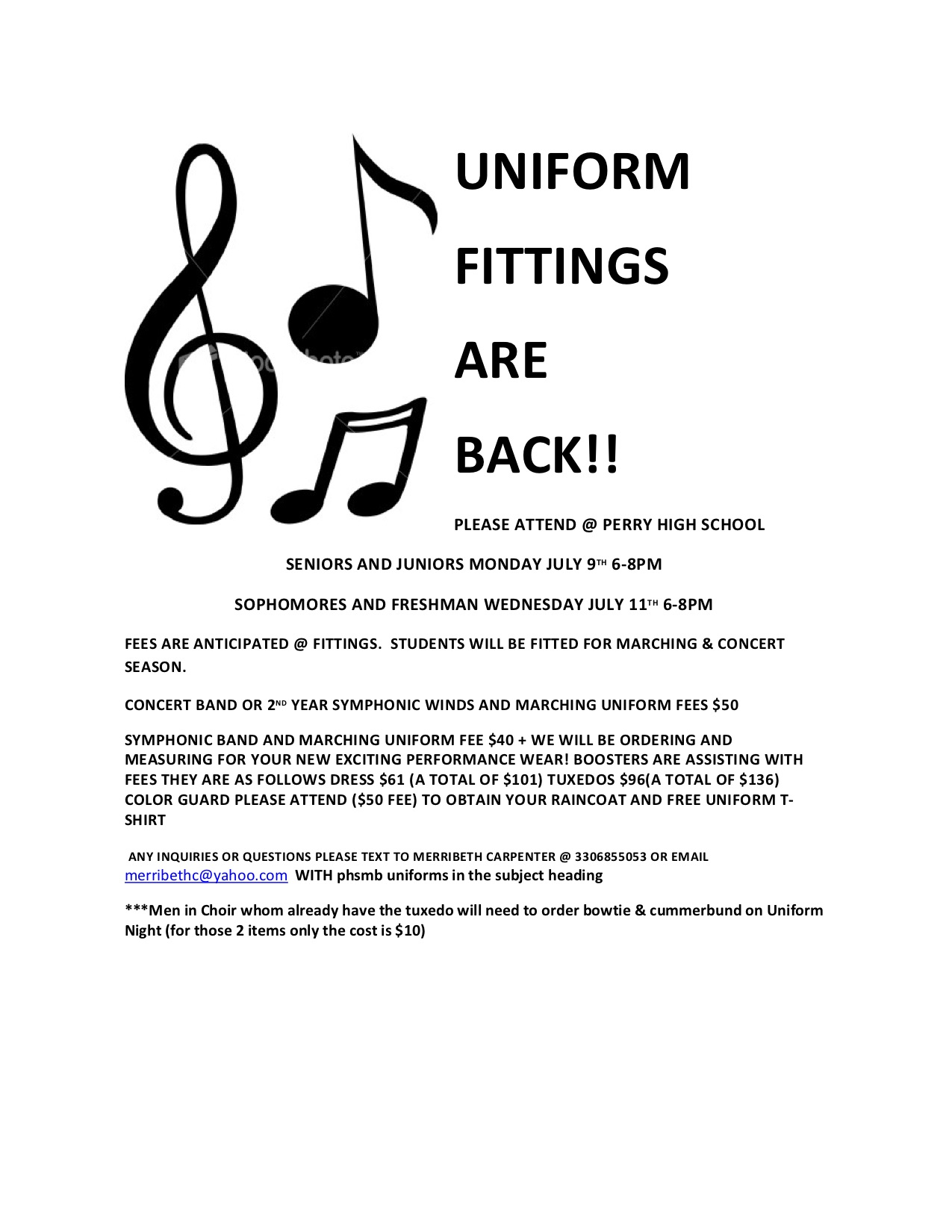 Uniform Fittings – Perry High School Bands
